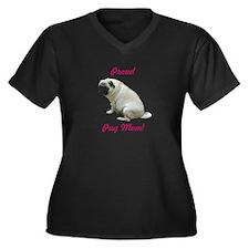 Proud Pug Mom Women's Plus Size V-Neck Dark T-Shir