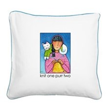 KNIT 1 PURR 2... Canvas Art Pillow by Susan Faye