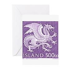 Vintage 1989 Iceland Dragon Postage Stamp Greeting