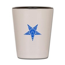 Baphomet Pentagram Blue Shot Glass