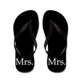 Black mr and mrs flip flops - for her