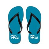 Blue His and Hers flip flops - for him