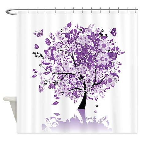 Purple Floral Tree Shower Curtain By Showercurtainshop