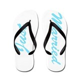 Blue and white Just married flip flops