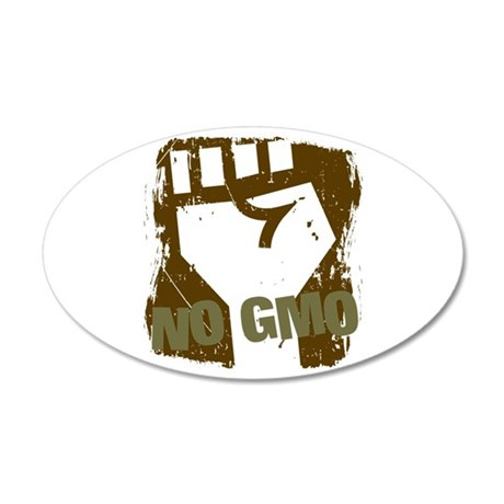 NO GMO Fist 20x12 Oval Wall Decal