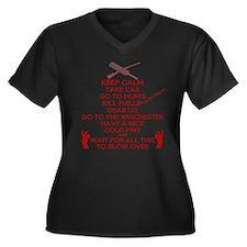 Zombie Keep Calm T-Shirt Women's Plus Size V-Neck