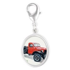 Antique Power Wagon Silver Oval Charm