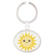 Cute happy sun Oval Keychain