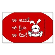 No meat, No fur, No test Oval Decal