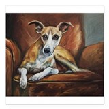 "Whippet on Chair Square Car Magnet 3"" x 3"""