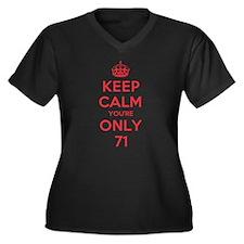 K C Youre Only 71 Women's Plus Size V-Neck Dark T-