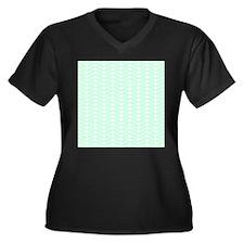 Mint Green Zigzag Pattern. Women's Plus Size V-Nec