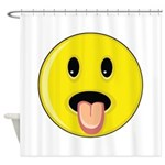 Smiley Face - Tongue Out Shower Curtain