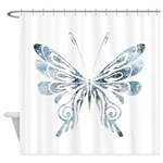 Blue Tribal Butterfly Tattoo Shower Curtain