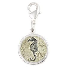 Seahorse Silver Round Charm
