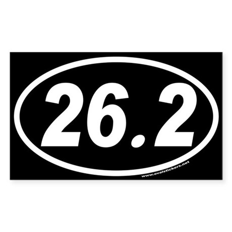 26.2 Euro Style Oval Sticker (White Oval on Black)