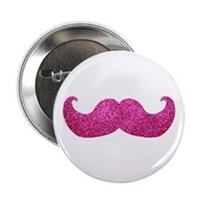 "Pink Bling Mustache (faux glitter) 2.25"" Button (1"