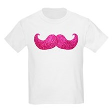 Pink Bling Mustache (faux glitter) T-Shirt