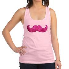 Pink Bling Mustache (faux glitter) Racerback Tank