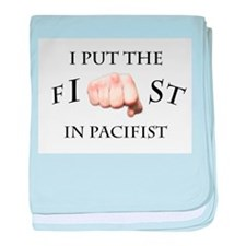 I put the fist in pacifist baby blanket