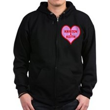 Personalized with names Valentines day heart Zip Hoodie