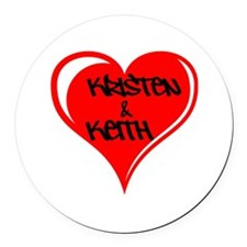 Personalized with names Valentines day heart Round