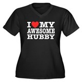 I Love My Awesome Hubby Women's Plus Size V-Neck D