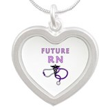 Nurse Future RN Silver Heart Necklace