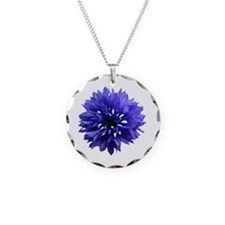 Cornflower Necklace Circle Charm