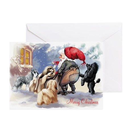 santa and his dogs Greeting Cards (Pk of 10)