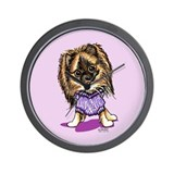 Plum Cute Pomeranian Wall Clock