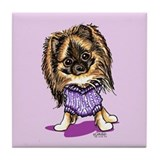 Plum Cute Pomeranian Tile Coaster