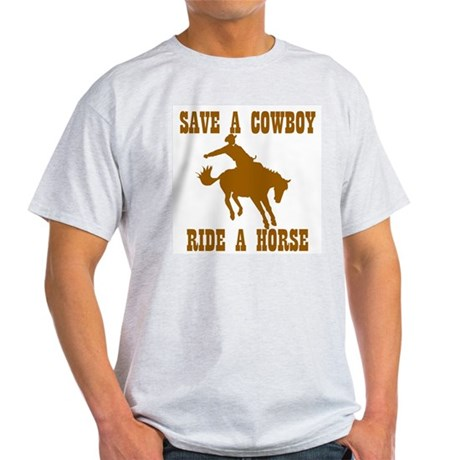 Save A Cowboy Ash Grey T-Shirt