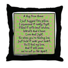 Hug from Home Pink/Green Throw Pillow