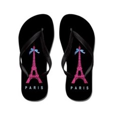 Pink Paris Eiffel Tower Flip Flops