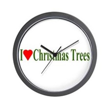 I Love Christmas Trees Wall Clock