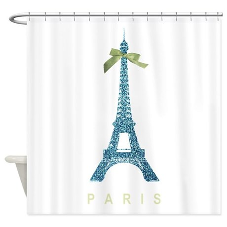 Blue eiffel tower paris shower curtain by inspirationzstore for Eiffel tower bathroom accessories