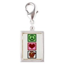 Peace Love Turkey Silver Portrait Charm