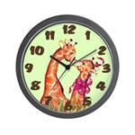 Kissing Giraffes Wall Clock