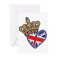 Royal Crown Union Jack Heart Flag Greeting Card