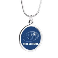 Old School Solar System Silver Round Necklace