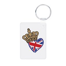 Royal Crown Union Jack Heart Flag Keychains