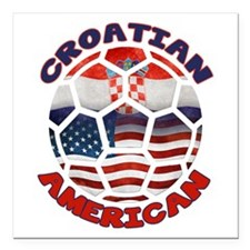 Croatian American Soccer Fan Square Car Magnet 3&q