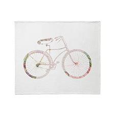 Floral Vintage Bicycle Throw Blanket