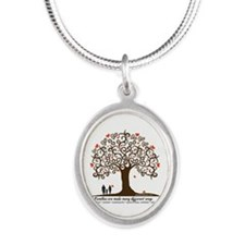 INFERTILITY FAMILY TREE Silver Oval Necklace