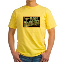 San Francisco California Greetings Yellow T-Shirt