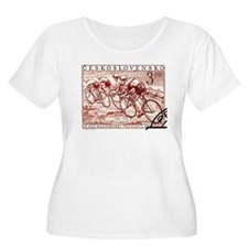 Antique 1952 Czechoslovakia Racing Cyclists Stamp