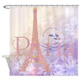 Pink Glitter Eiffel Tower Paris Shower Curtain