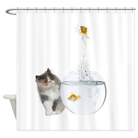 Cat and Goldfish Shower Curtain
