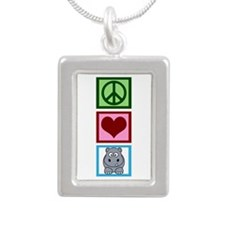 Peace Love Hippos Silver Portrait Necklace